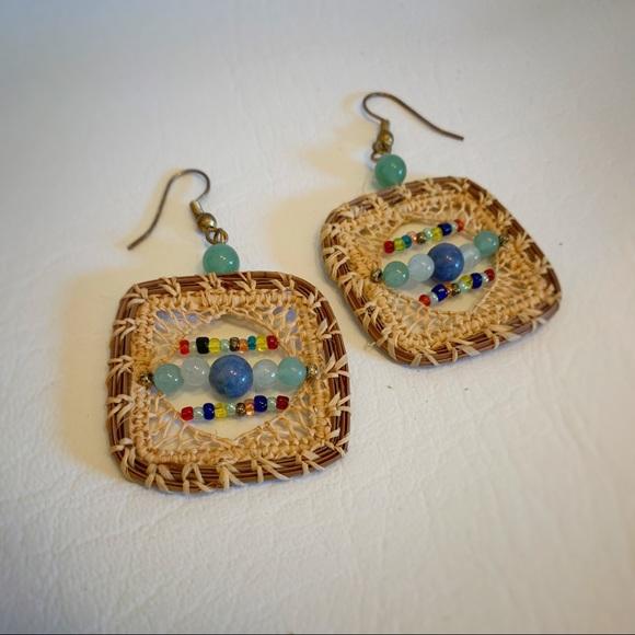 Jewelry - Boho Colorful Folk Craft Wicker & Bead Earrings